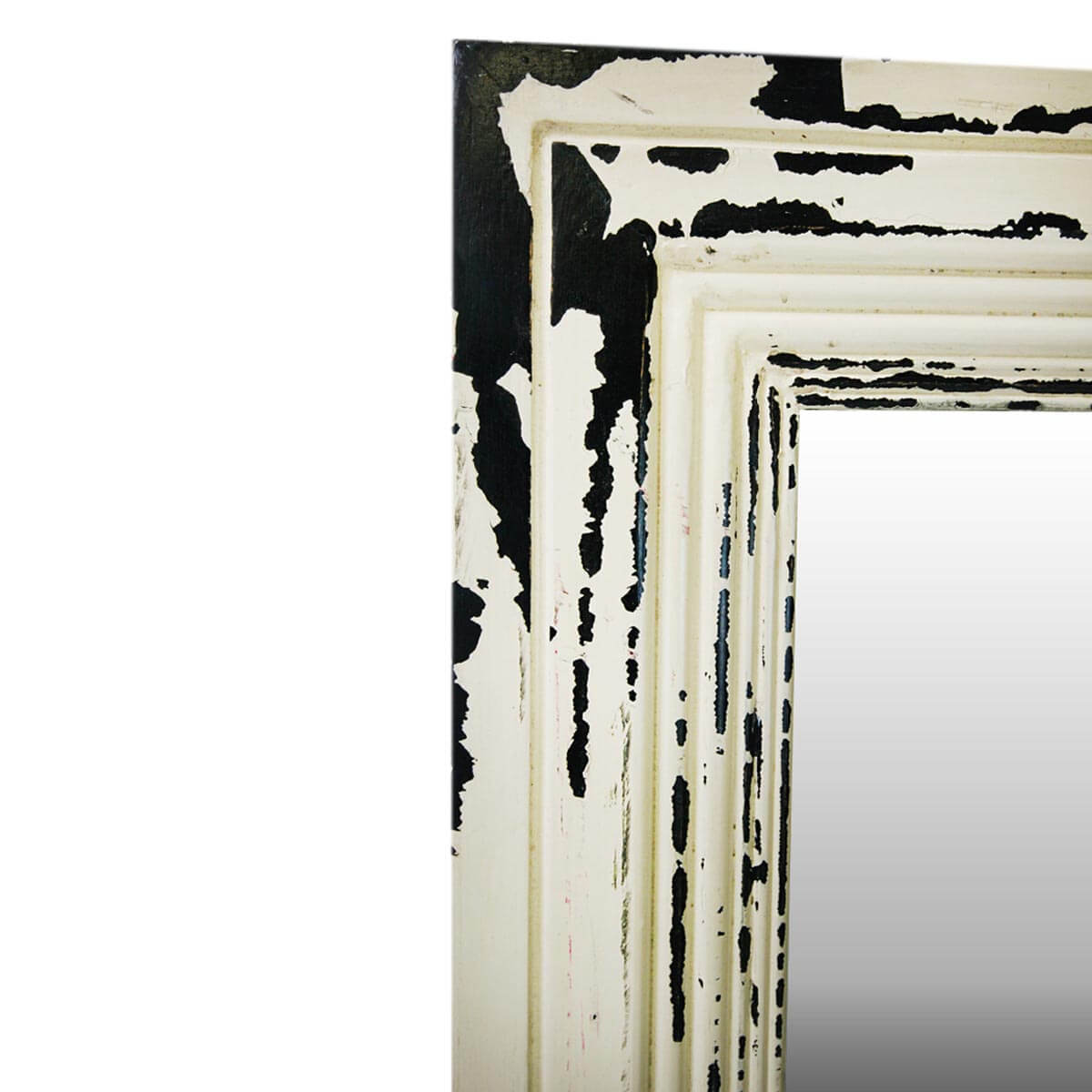 Frontier Rustic Acacia Wood White Distressed Wall Mirror Frame