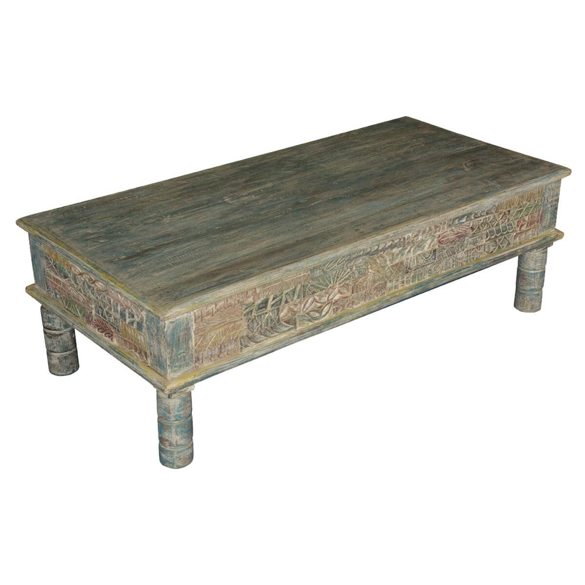 Tapestry hand carved reclaimed wood coffee table Hand carved coffee table