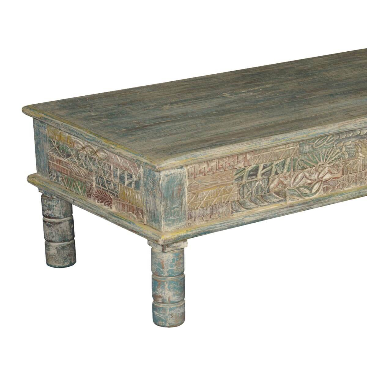 Tapestry hand carved reclaimed wood coffee table Carved wood coffee table