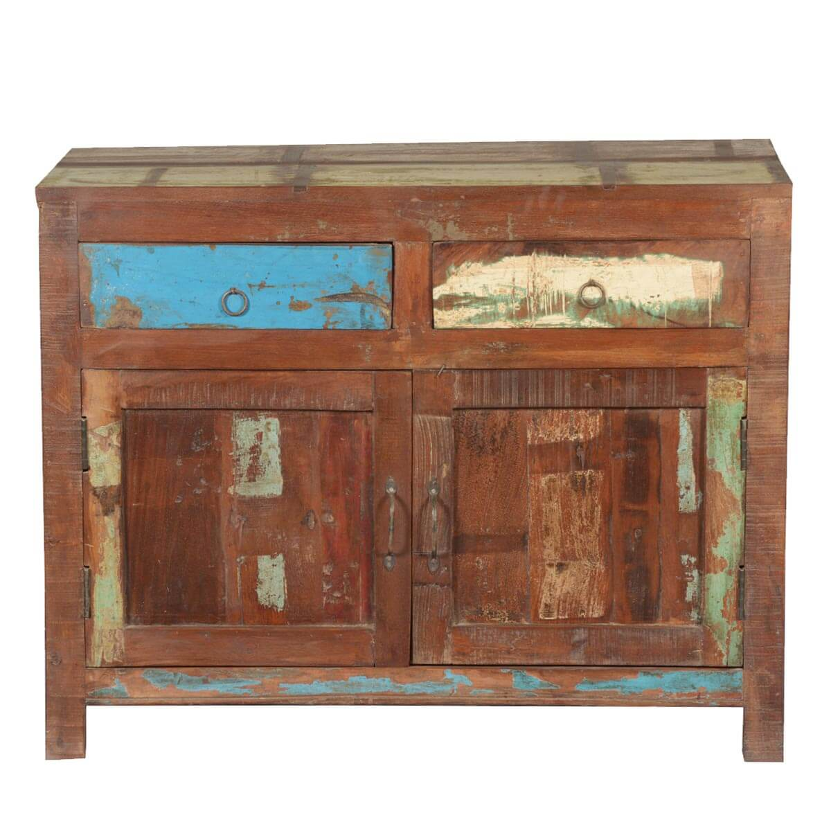 Collection Frontier Rustic Paint Patches Reclaimed Wood Buffet Cabinet. Full resolution  portrait, nominally Width 1200 Height 1200 pixels, portrait with #B48317.