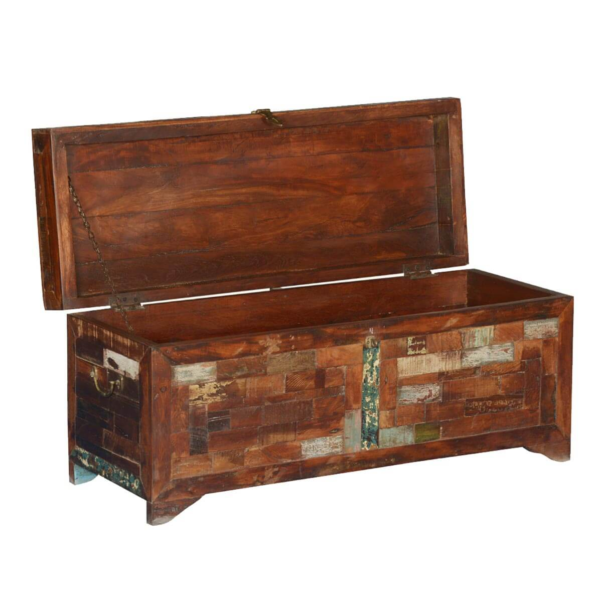 Rustic Brick Reclaimed Wood Standing Coffee Table Chest