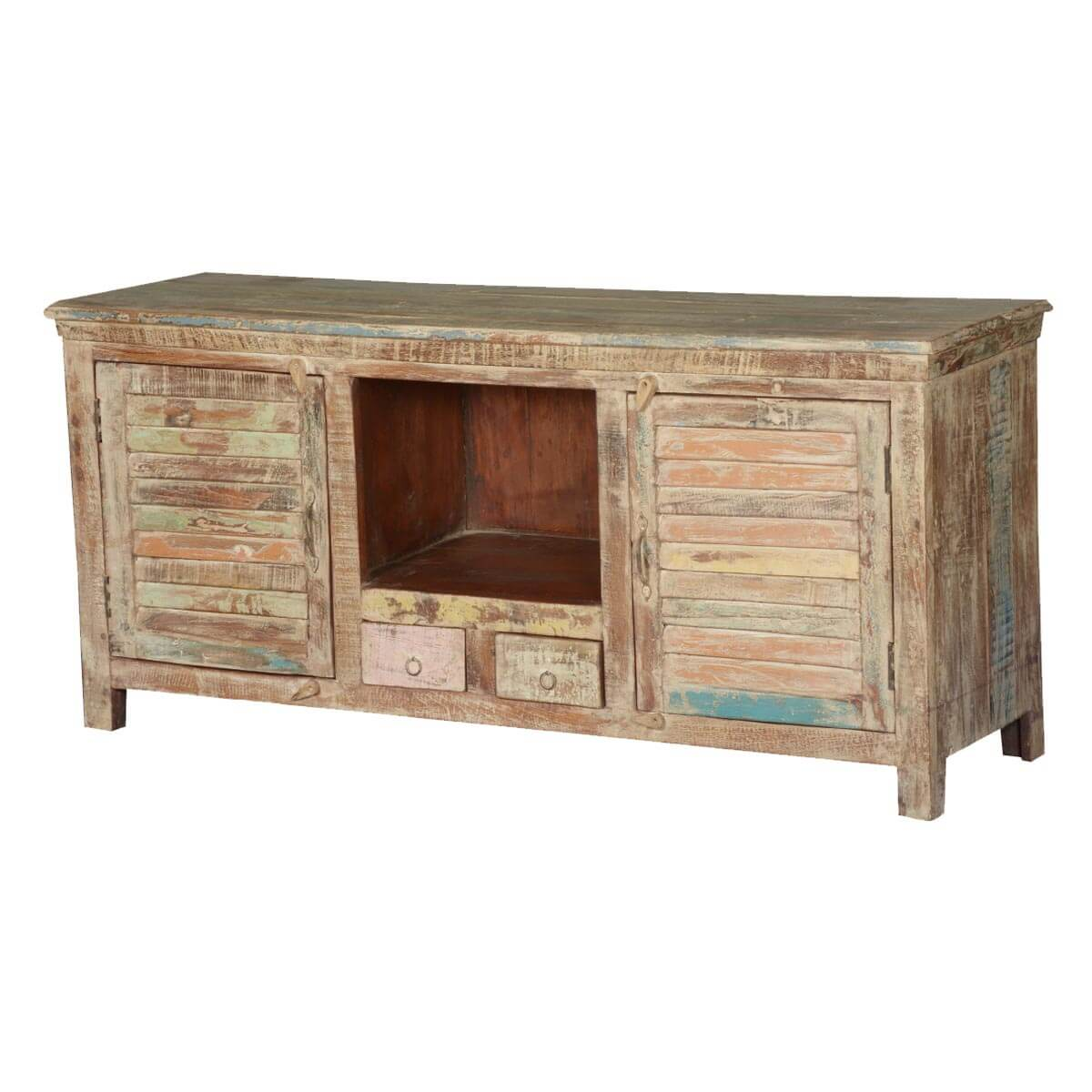 Frosted shutter doors reclaimed wood tv console media cabinet for Barnwood media cabinet