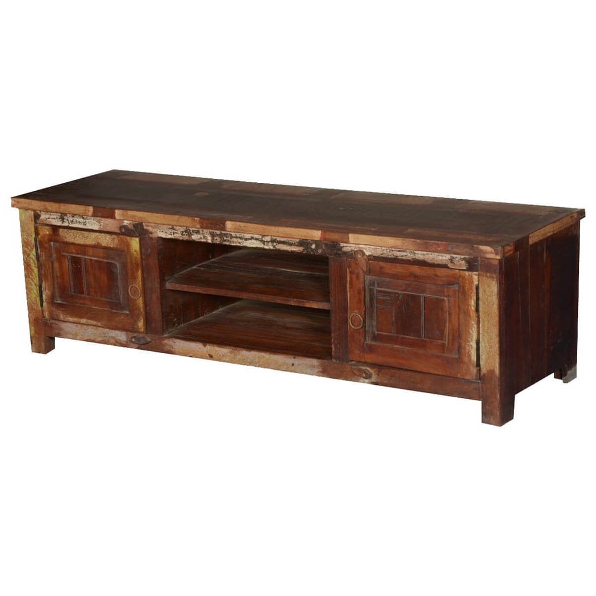 Old chicago rustic reclaimed wood tv console media cabinet for Tv media storage cabinet