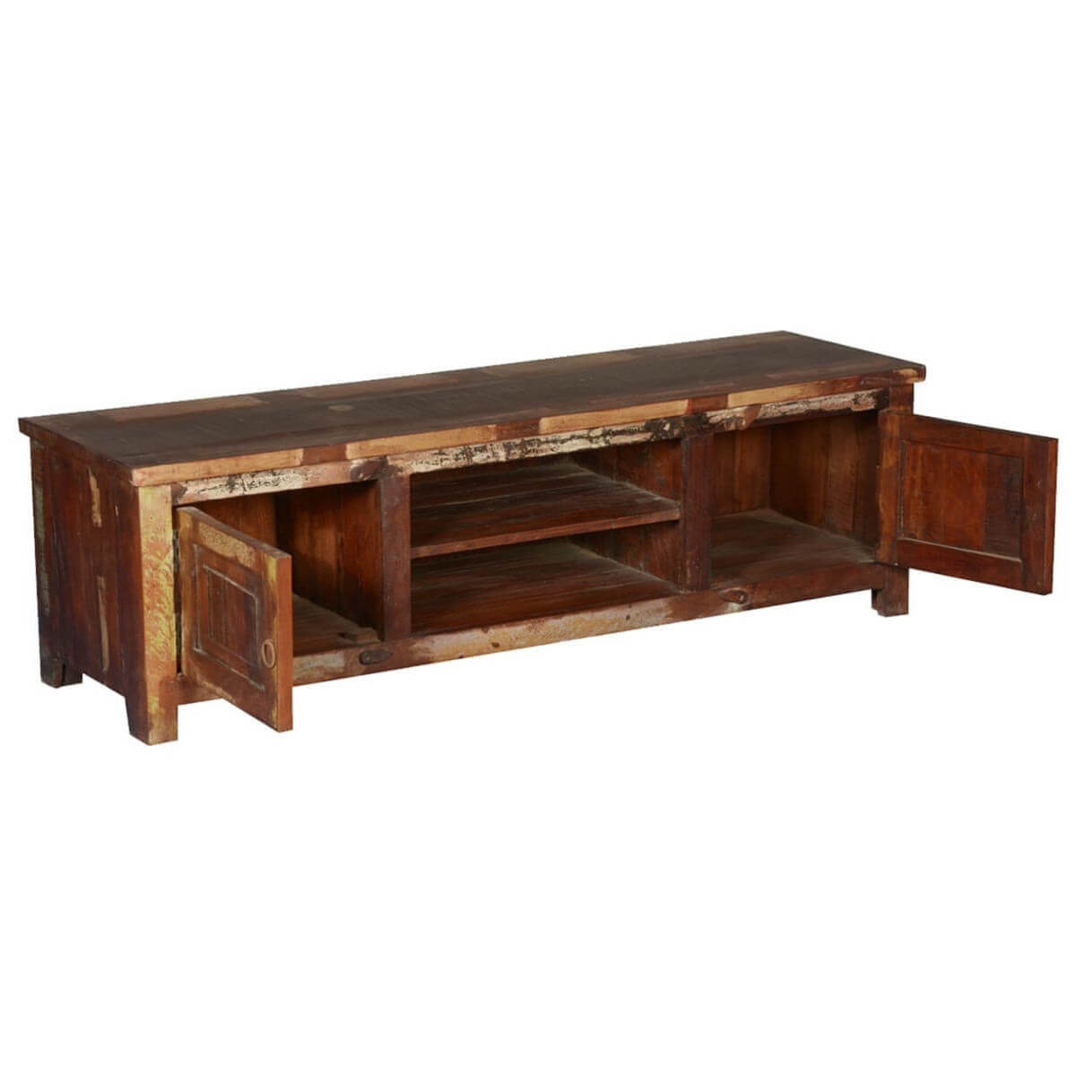 Old chicago rustic reclaimed wood tv console media cabinet