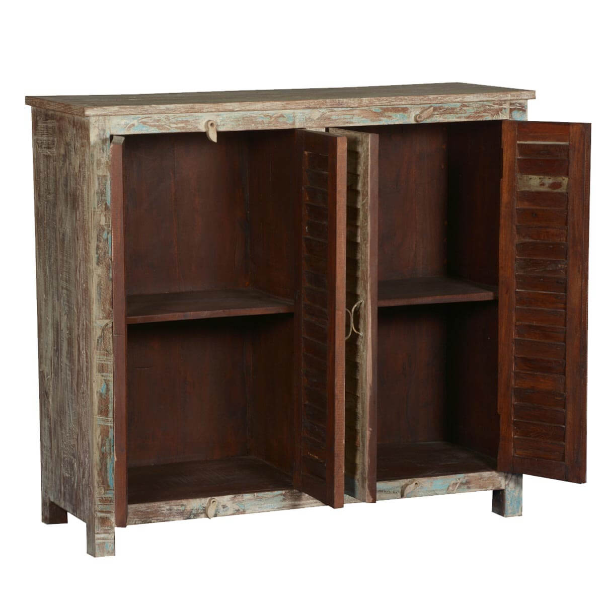 Frosted shutter door reclaimed wood buffet cabinet