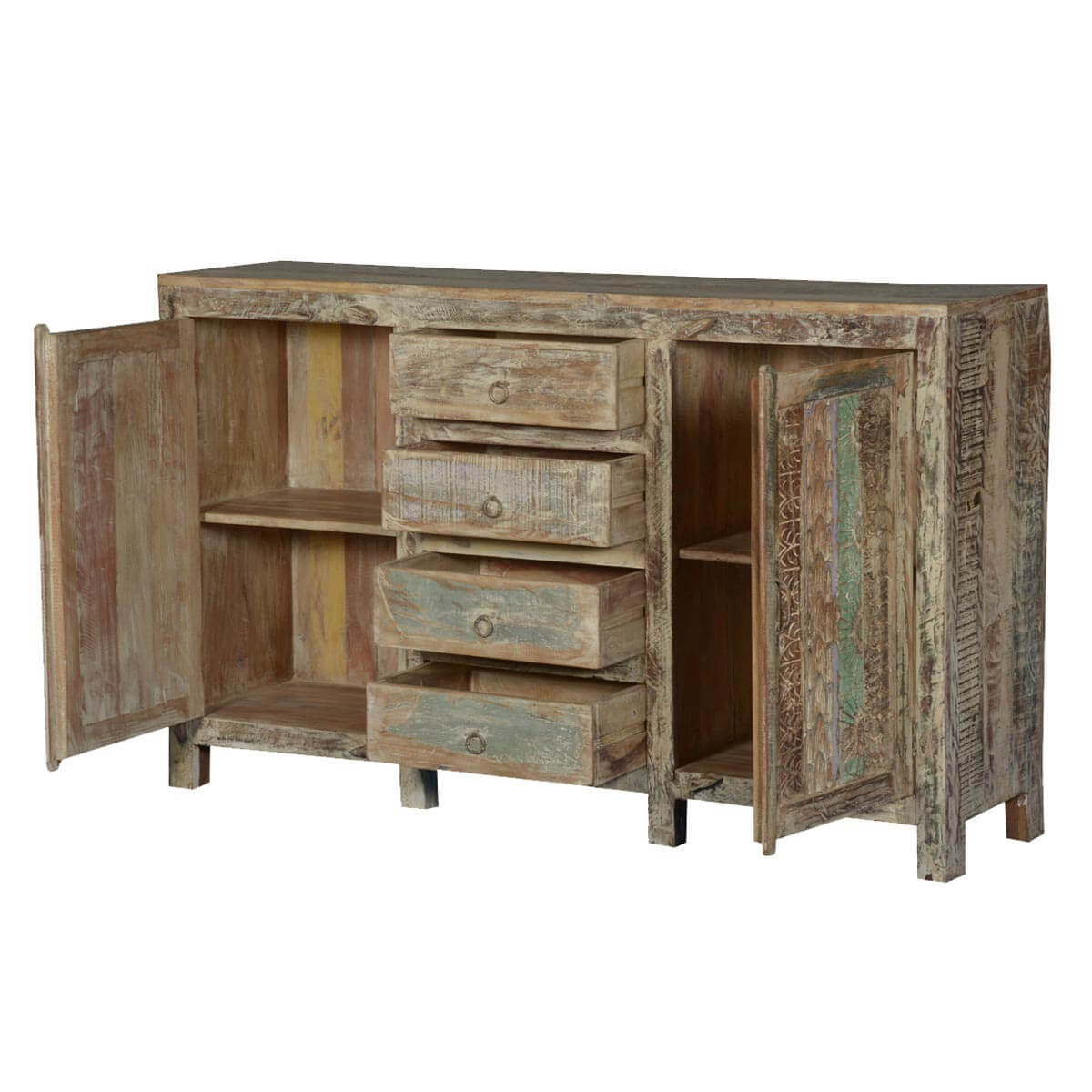 Frosted rustic reclaimed wood handcrafted drawer sideboard