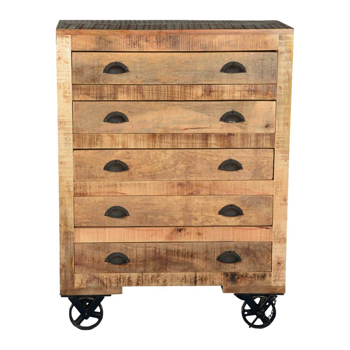 Industrial X Mango Wood & Iron Rolling 5 Drawer Chest