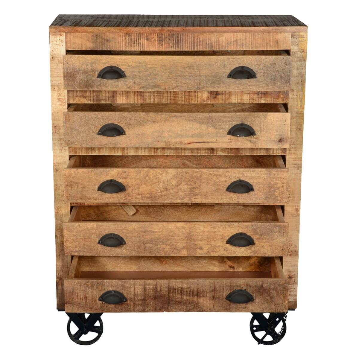 Industrial Style Solid Wood Square Storage Trunk 5 Drawer: Industrial X Mango Wood & Iron Rolling 5 Drawer Chest