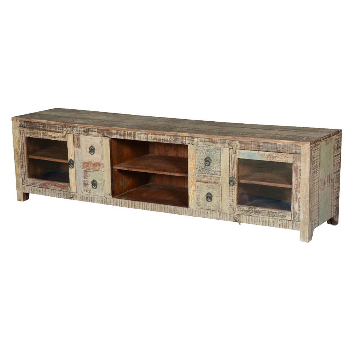Frosted Showcase Reclaimed Wood Tv Console Media Center