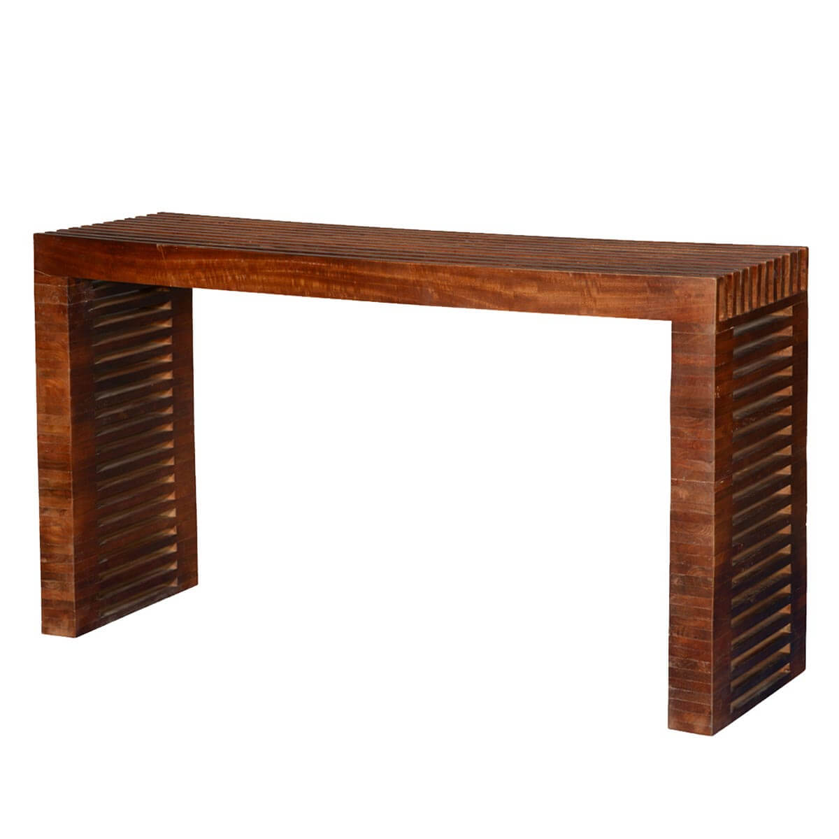 Modern vented slats mango wood hall console table for Contemporary wood console tables
