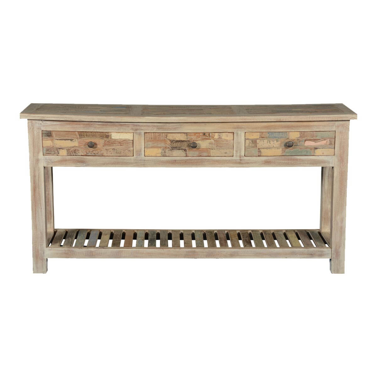 Frosted brick wall reclaimed wood hall console table for Hall console table