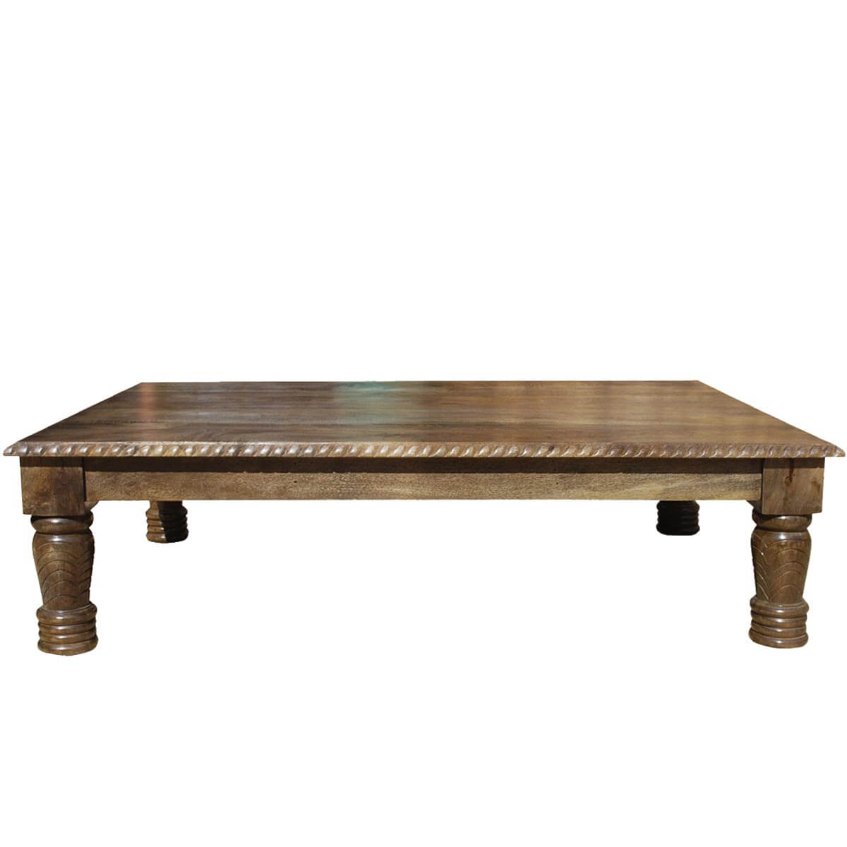Solid wood hand carved transitional lincoln coffee table