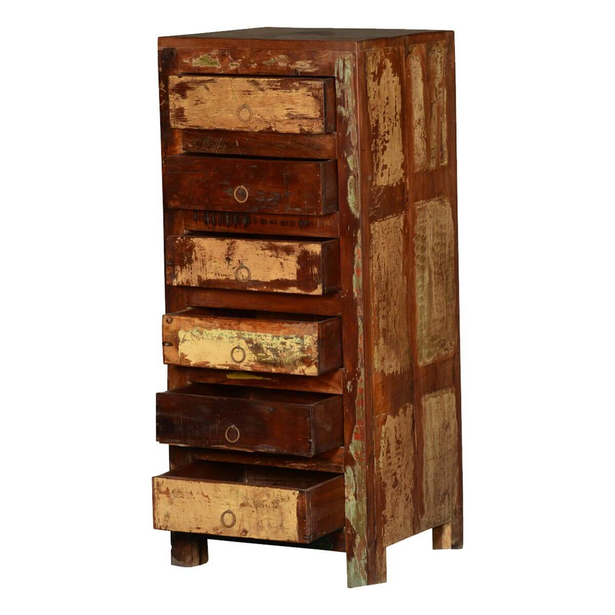 Frontier Rustic Reclaimed Wood Distressed 6 Drawer Tall