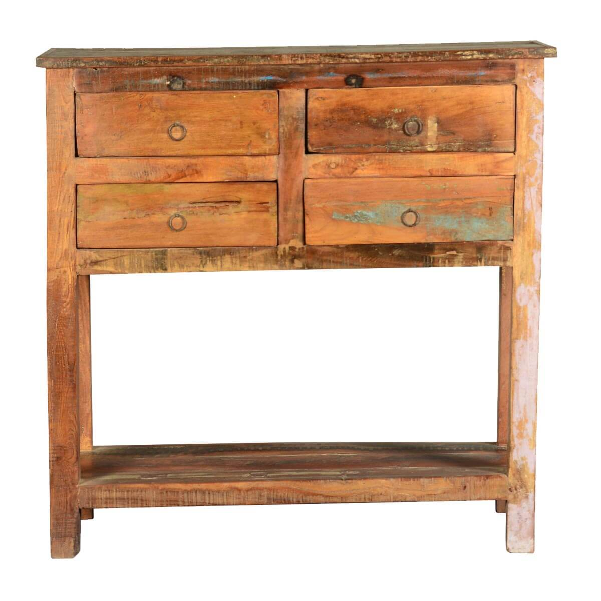 Console Table Woodworking ~ Frontier rustic reclaimed wood hall console table w drawers