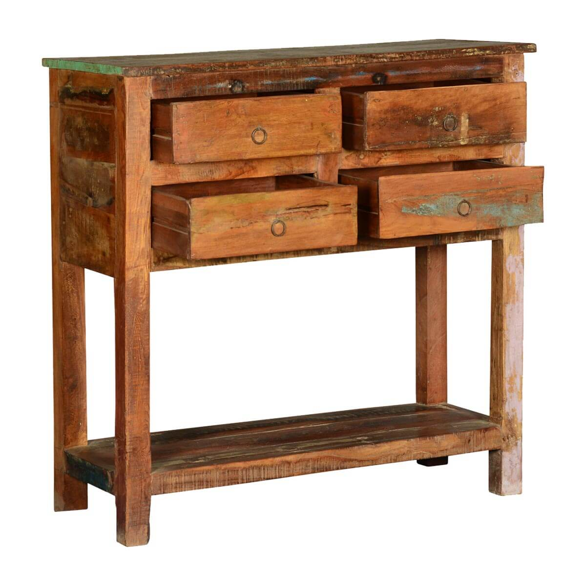 Frontier rustic reclaimed wood hall console table w drawers for Hall console table