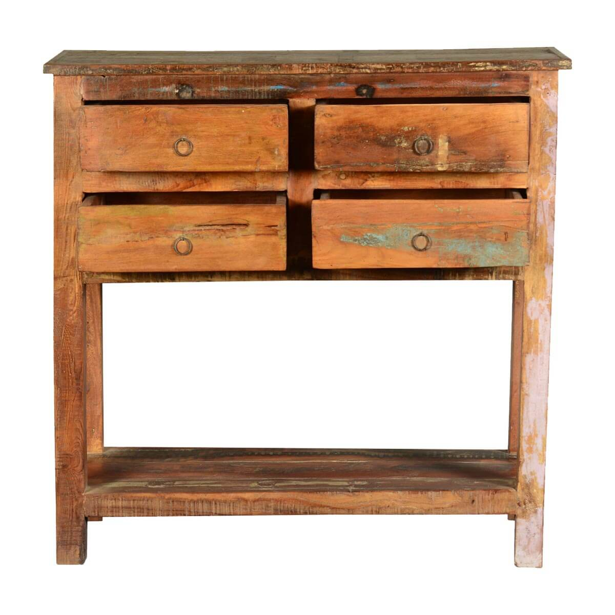 Frontier rustic reclaimed wood hall console table w drawers