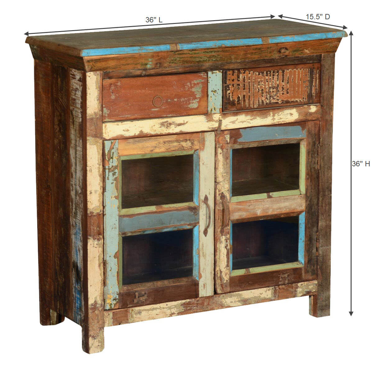 Rustic country reclaimed wood freestanding display buffet