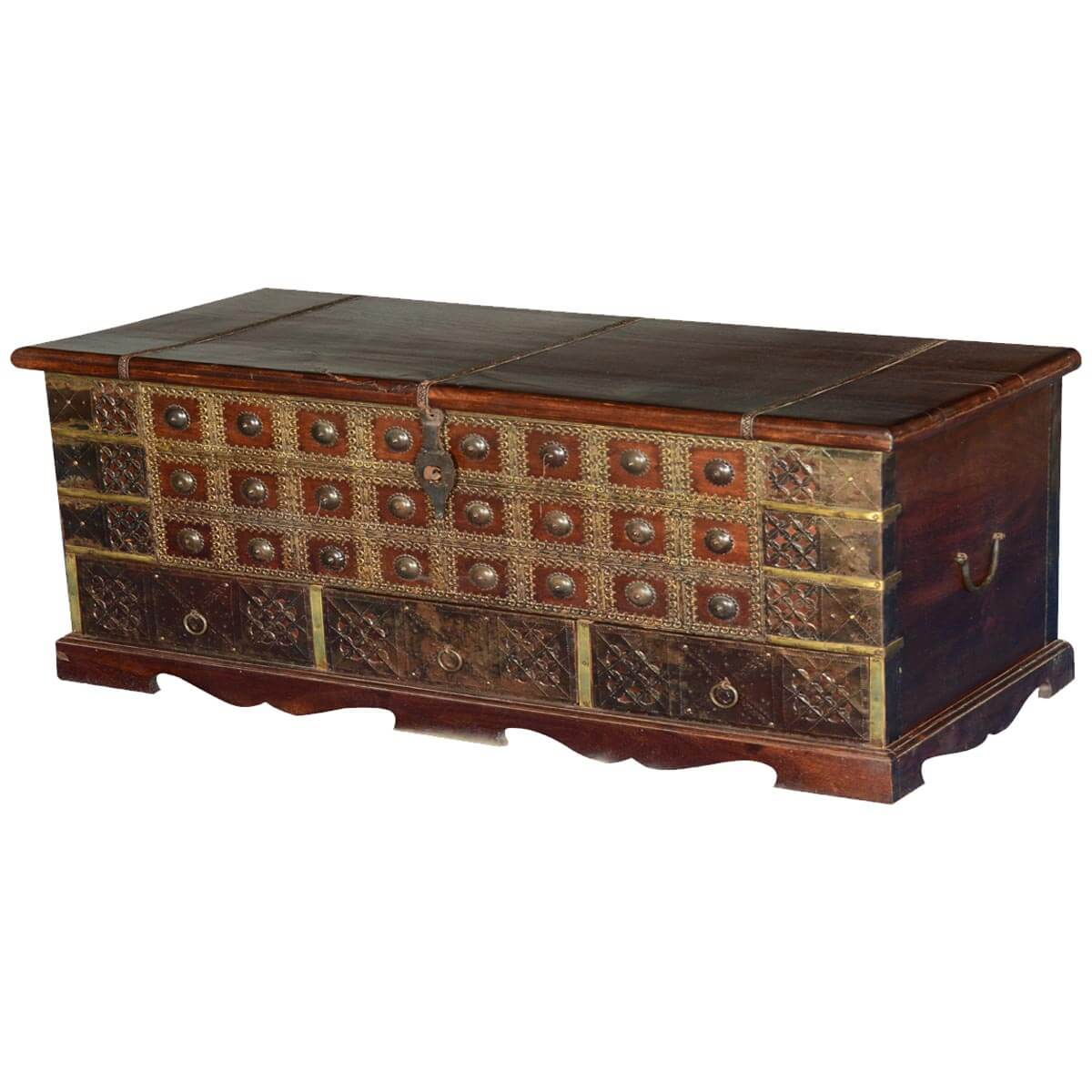 Superb img of  Chests Tudor Treasures Mango Wood & Brass Coffee Table Chest w Drawers with #B28C19 color and 1200x1200 pixels