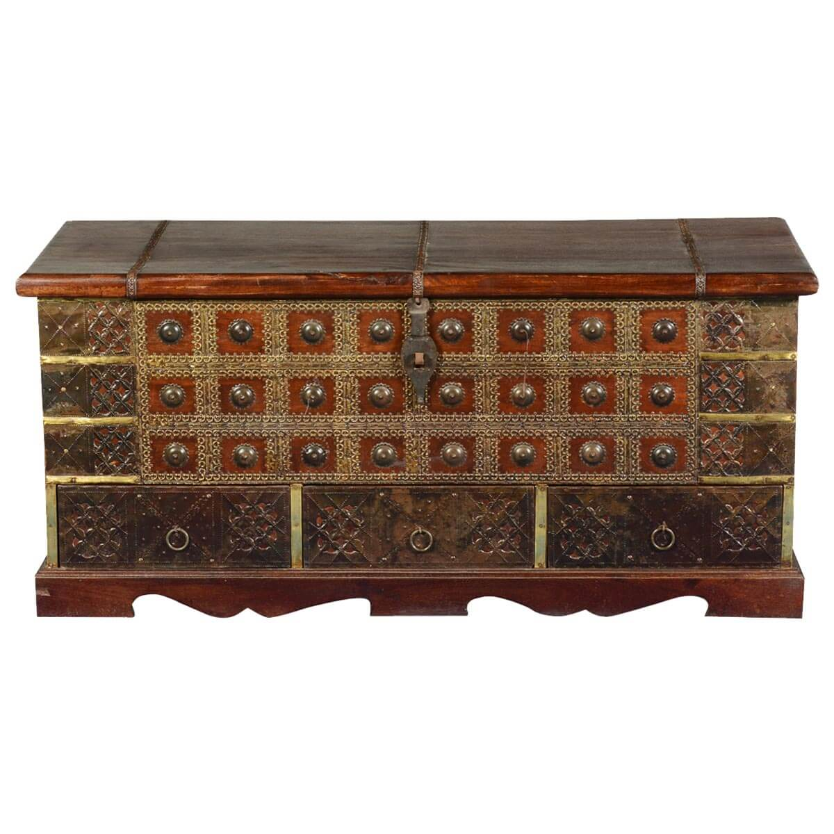 Coffee Table Chest Drawers: Tudor Treasures Mango Wood & Brass Coffee Table Chest W