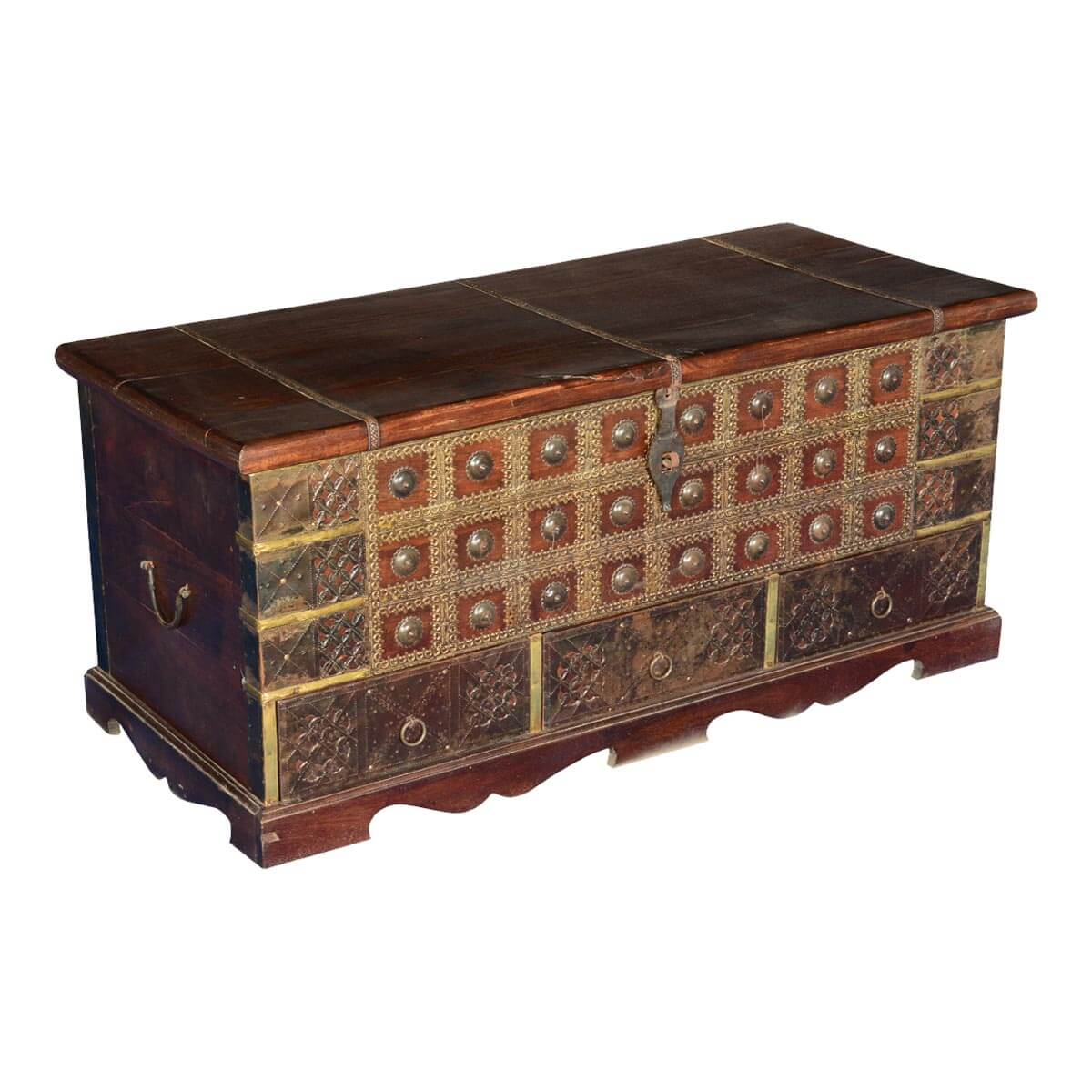 Tudor treasures mango wood brass coffee table chest w for Coffee table chest with drawers