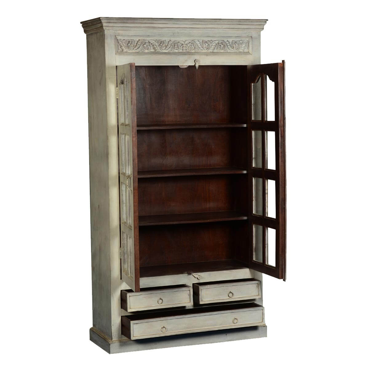 Early Victorian Antique White Mango Wood Display Armoire  : 67116 from sierralivingconcepts.com size 1200 x 1200 jpeg 118kB