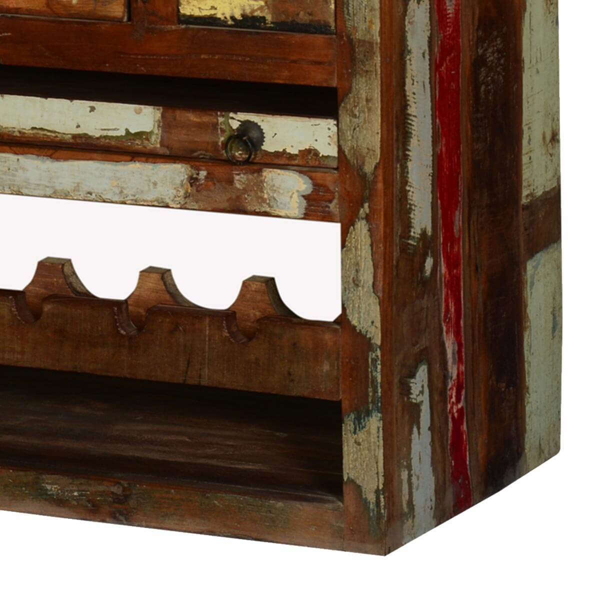 Wood Wine Bar ~ Frontier rustic reclaimed wood wine bar rack