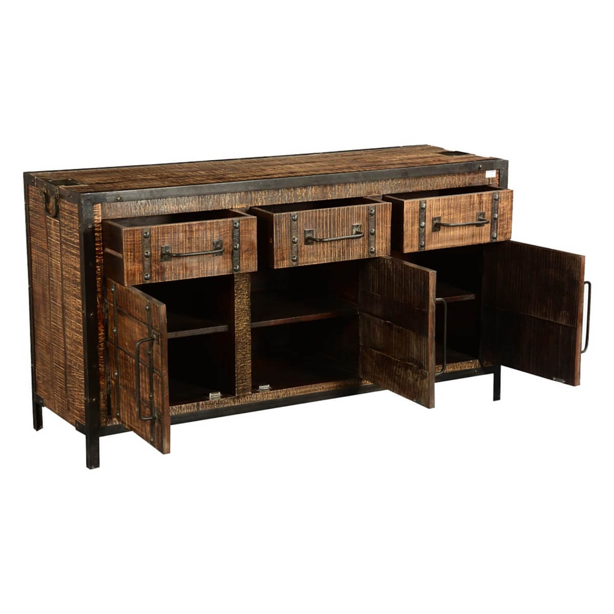 industrial rustic iron mango wood 57 5 sideboard cabinet. Black Bedroom Furniture Sets. Home Design Ideas