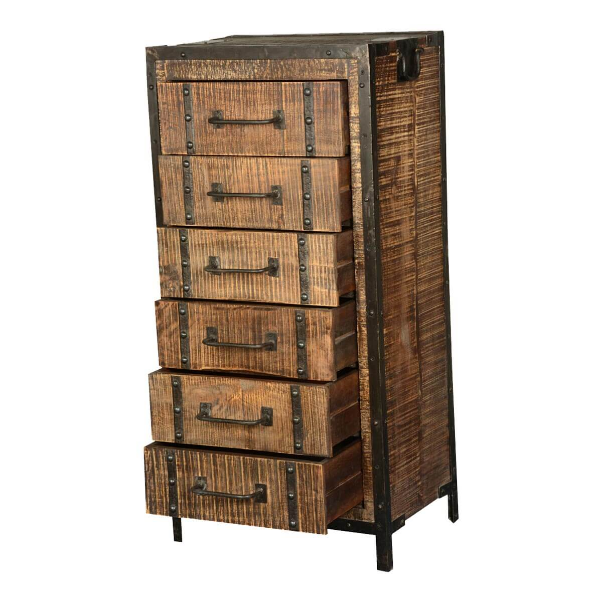 Industrial Style Solid Wood Square Storage Trunk 5 Drawer: Industrial Rustic Iron & Mango Wood 6-Drawer Dresser