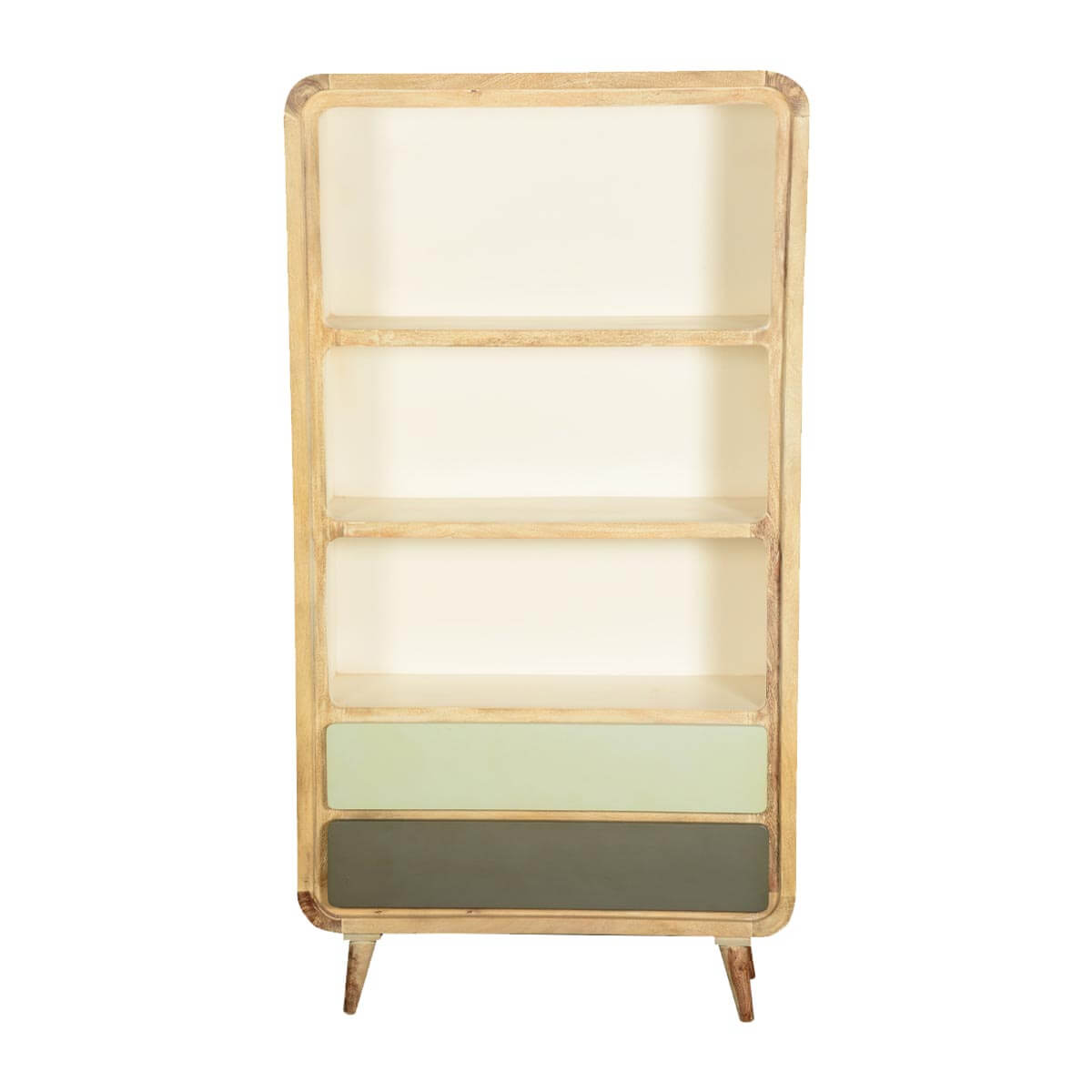 Contemporary Winter White Mango Wood Open Bookcase W Drawers