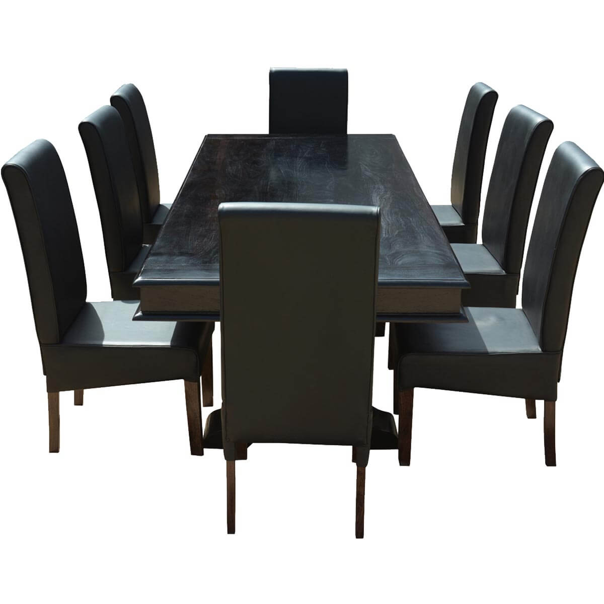 """Dining Tables With 8 Chairs: Executive Elegance Wood & Leather 94"""" Trestle Dining Table"""