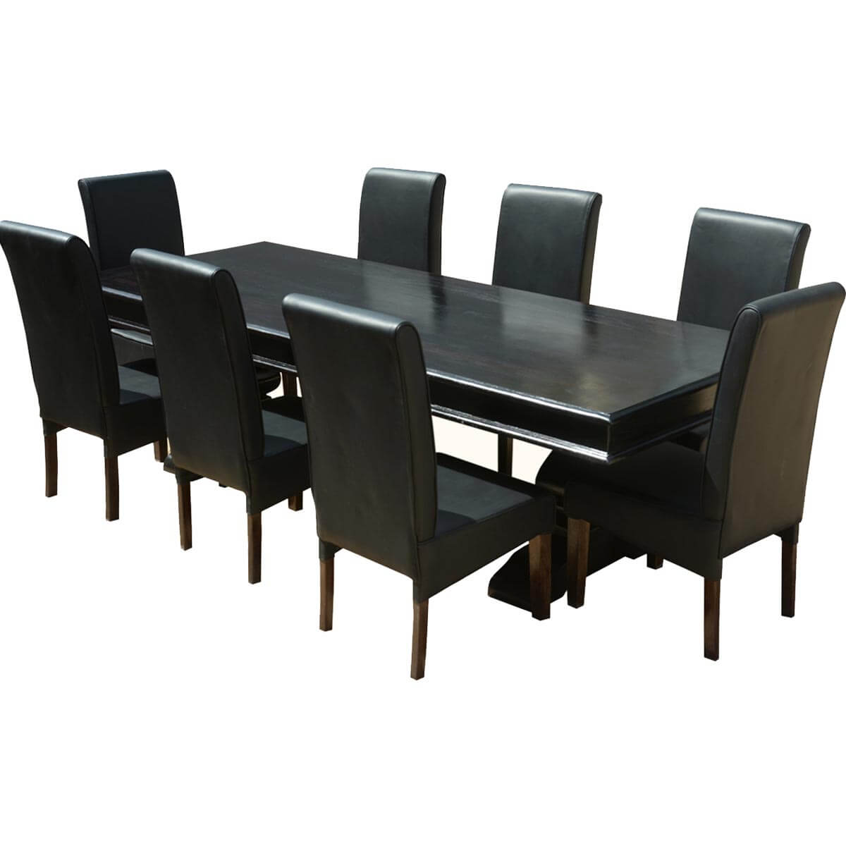executive elegance wood leather 94 trestle dining table 8 chairs. Black Bedroom Furniture Sets. Home Design Ideas