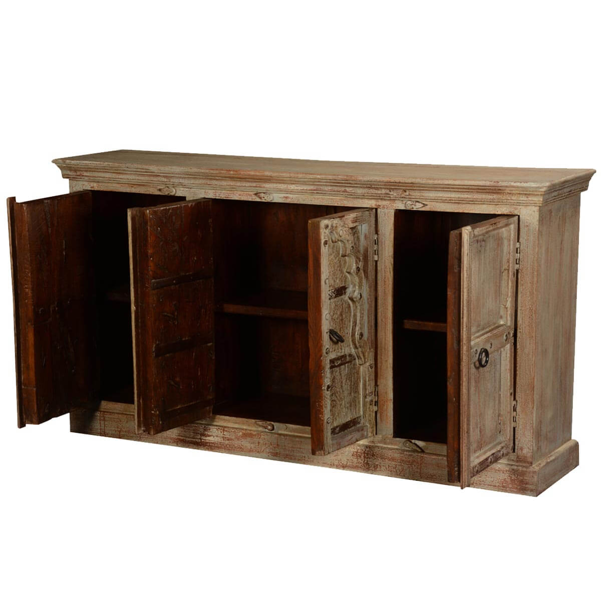 Antique White Gothic Doors Reclaimed Wood Sideboard Cabinet