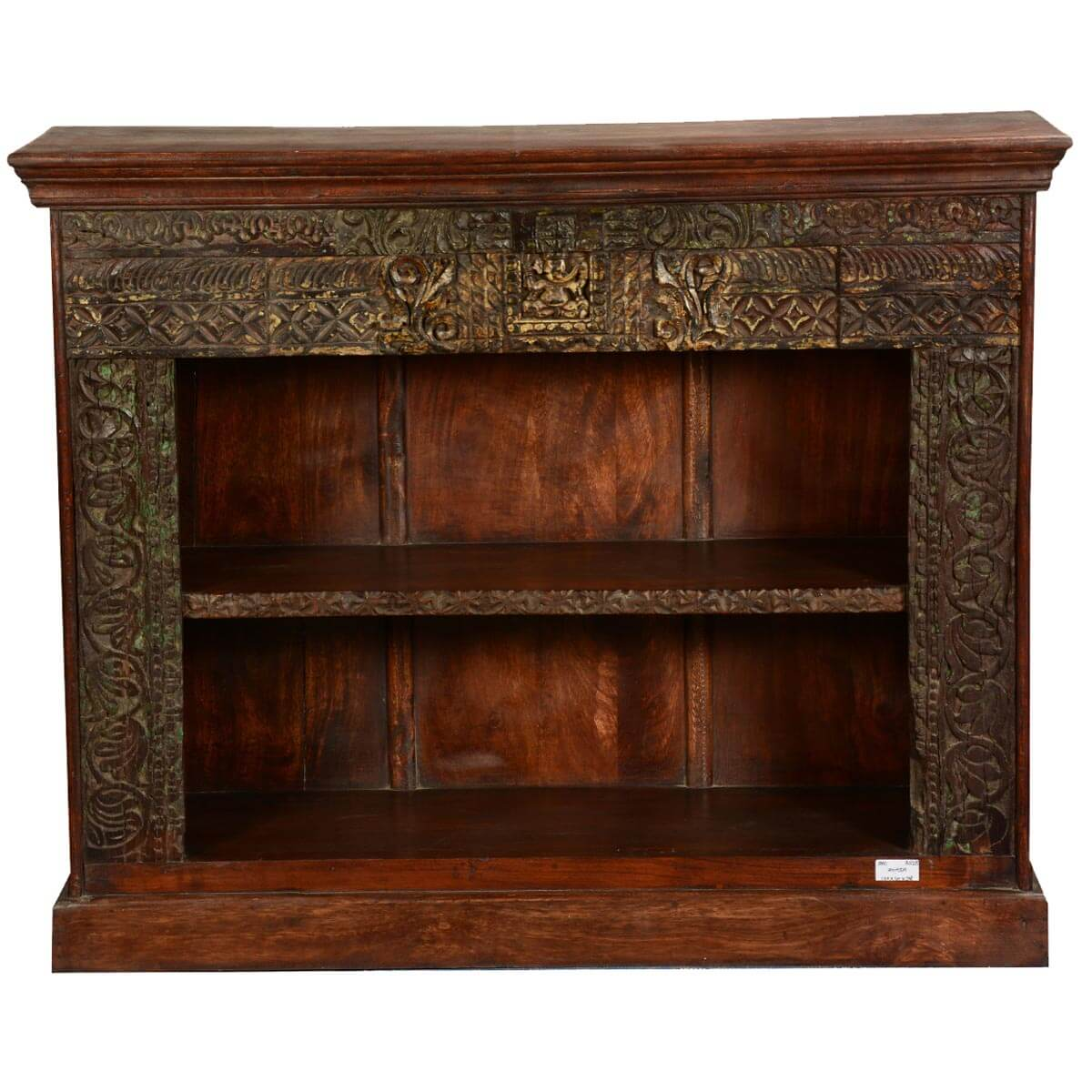 Hand Carved Bookshelf ~ Elizabethan classic hand carved reclaimed wood open bookcase