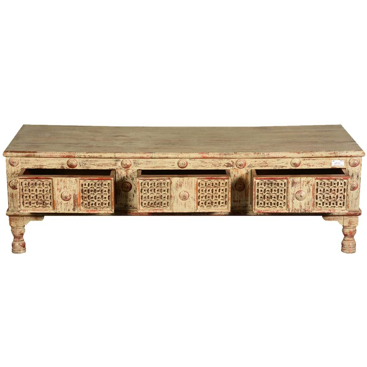 White Reclaimed Wood Coffee Table With Drawers
