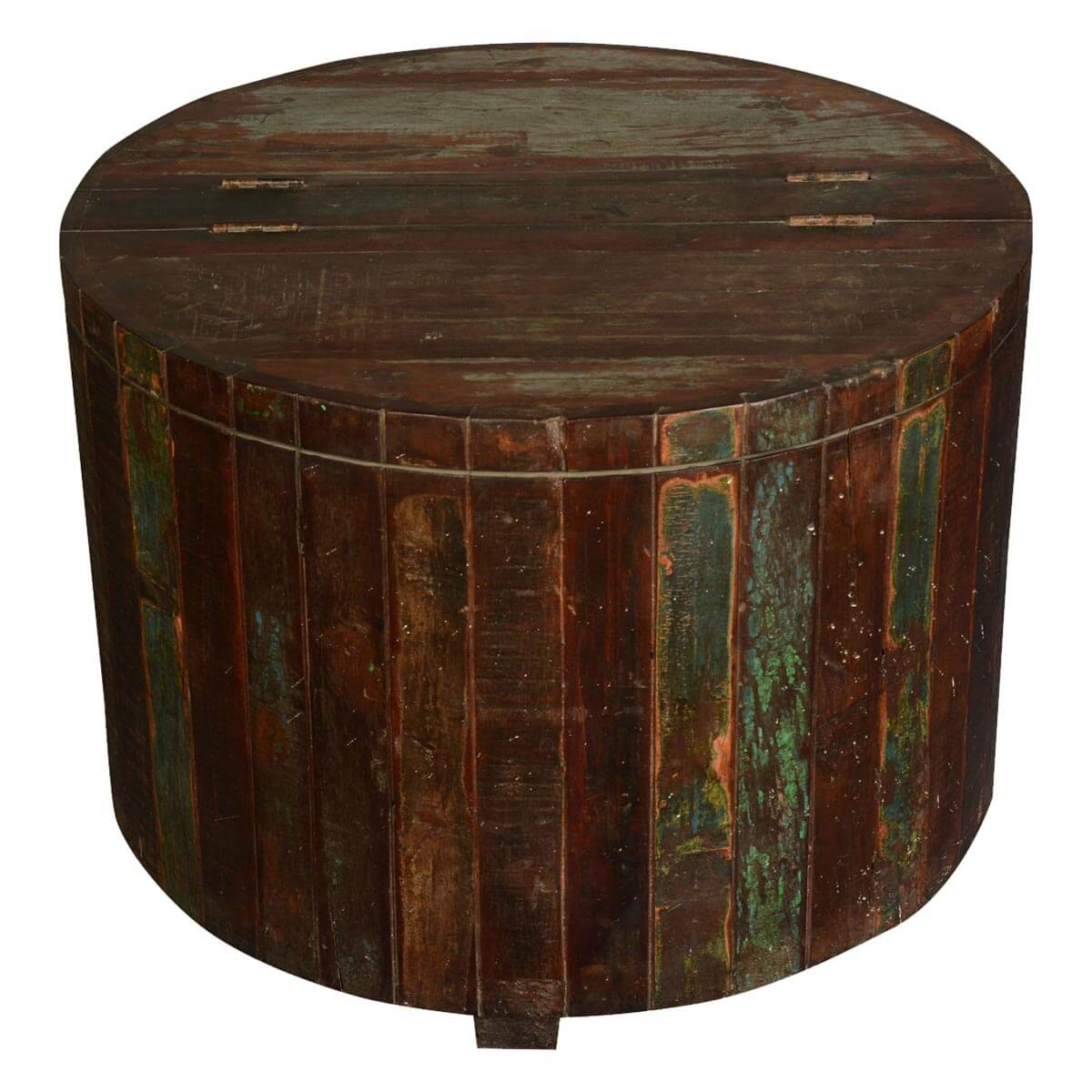 Appalachian rustic reclaimed wood round barrel chest for Rustic wood accent tables