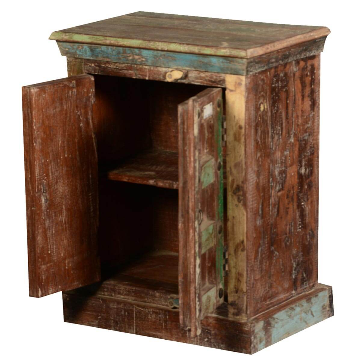Rustic color patches reclaimed wood night stand end table