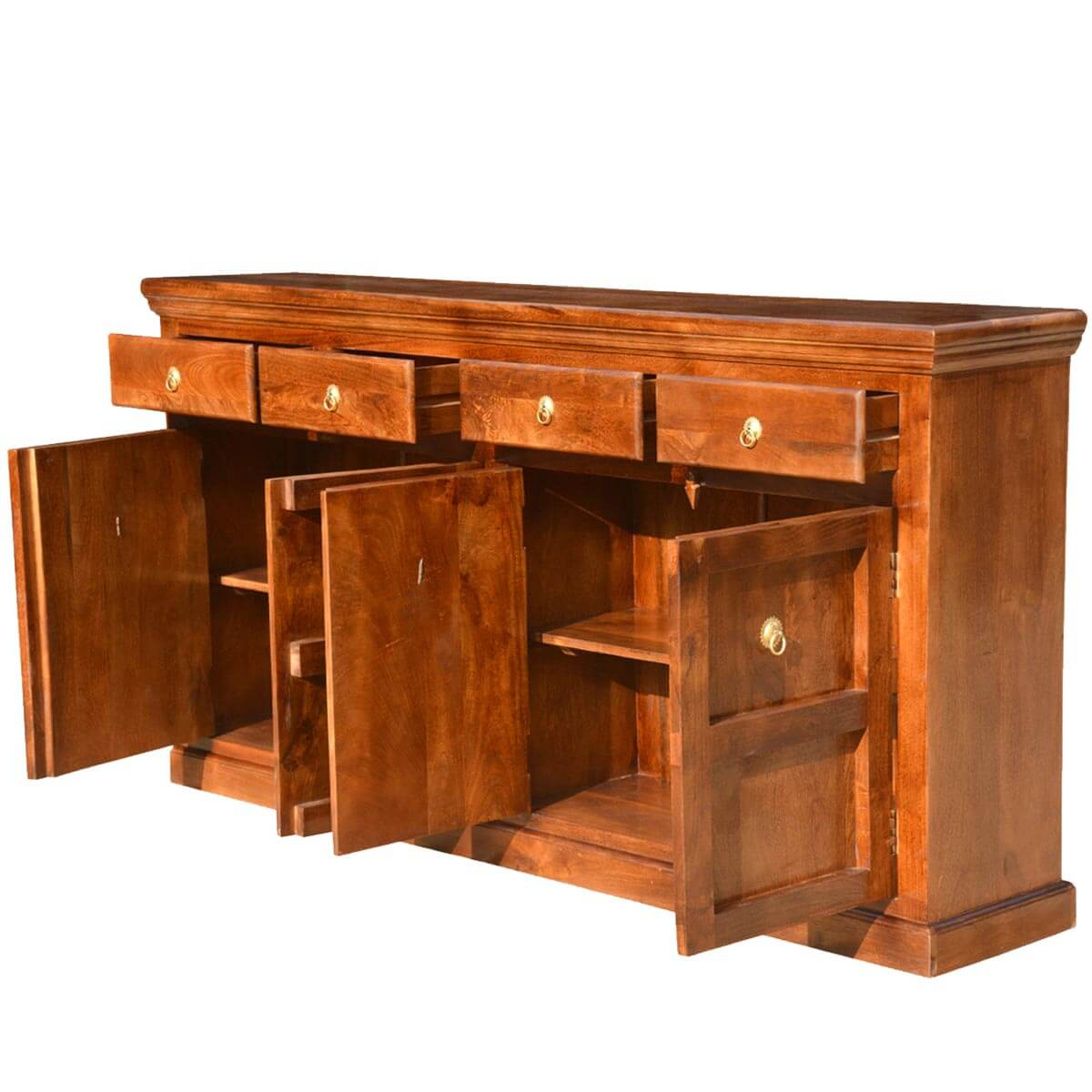 Shaker Traditional Solid Wood 4 Drawer Sideboard Cabinet