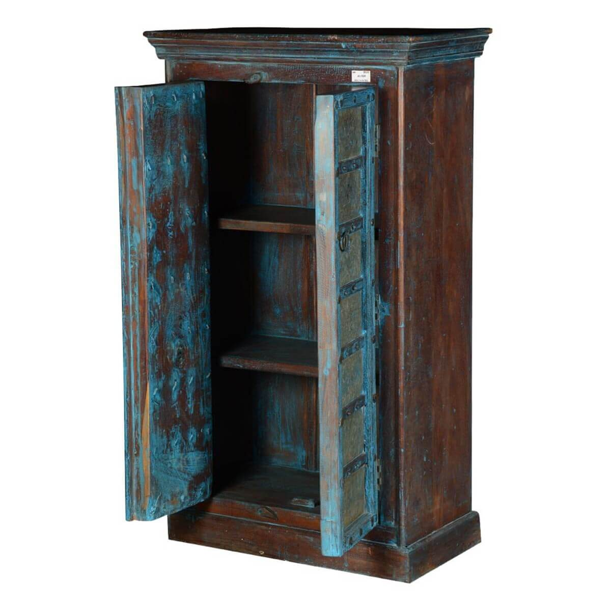 Halifax Handcrafted Rustic Blue Reclaimed Wood Armoire