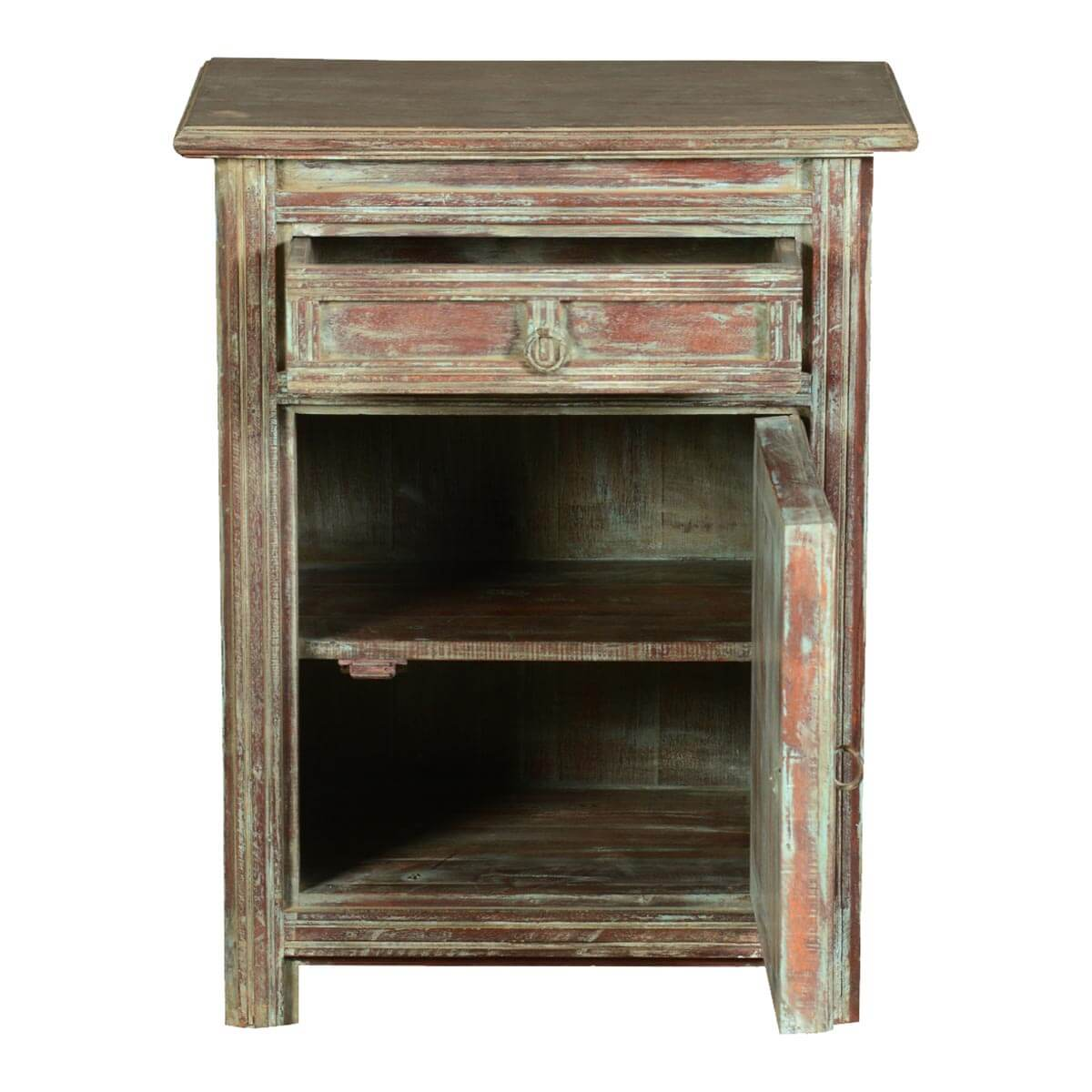 Pastel Side Table ~ Farmhouse pastel reclaimed wood nightstand end table cabinet