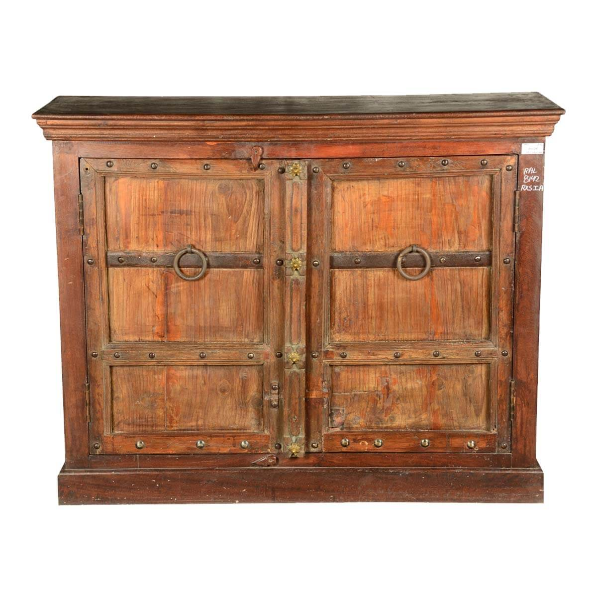 Simply gothic reclaimed wood rustic sideboard buffet cabinet