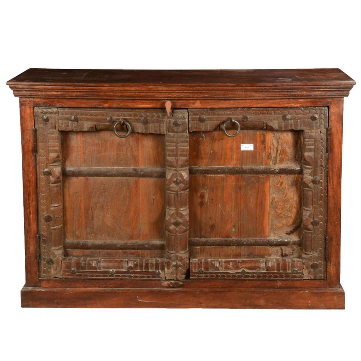Distressed Wood Buffet ~ Primitive carvings reclaimed wood distressed sideboard cabinet