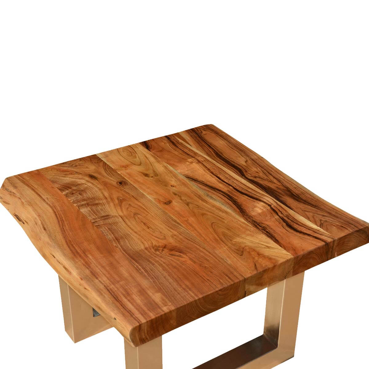 Live edge acacia wood iron contemporary square coffee table for Modern wooden coffee tables