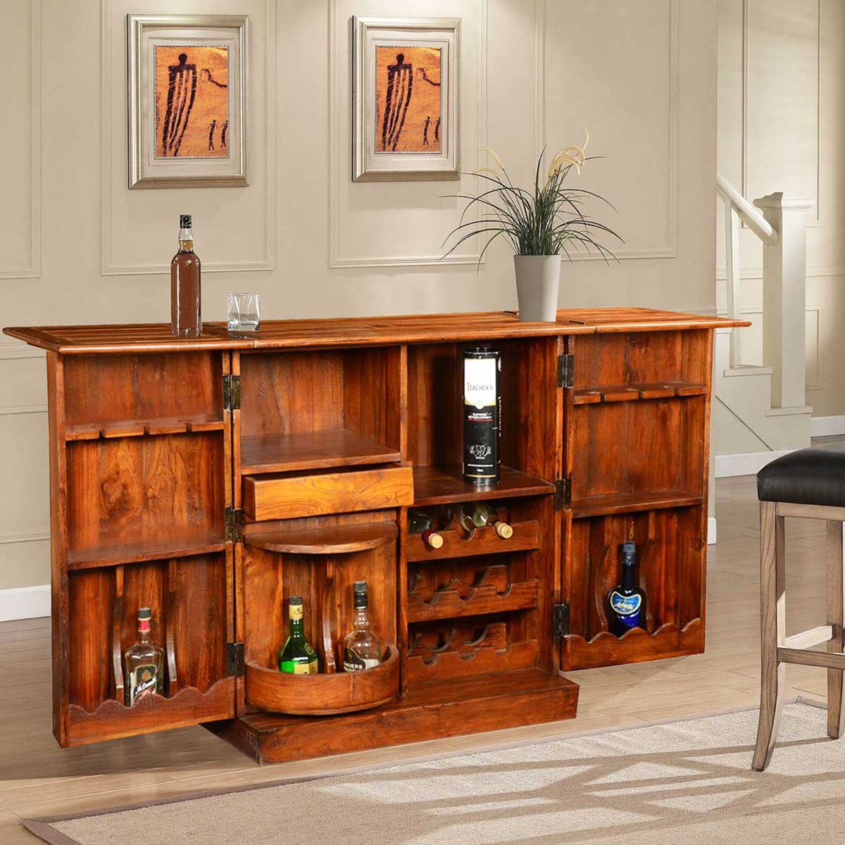 Double Diamond Solid Wood & Brass Expandable Wine Bar ...