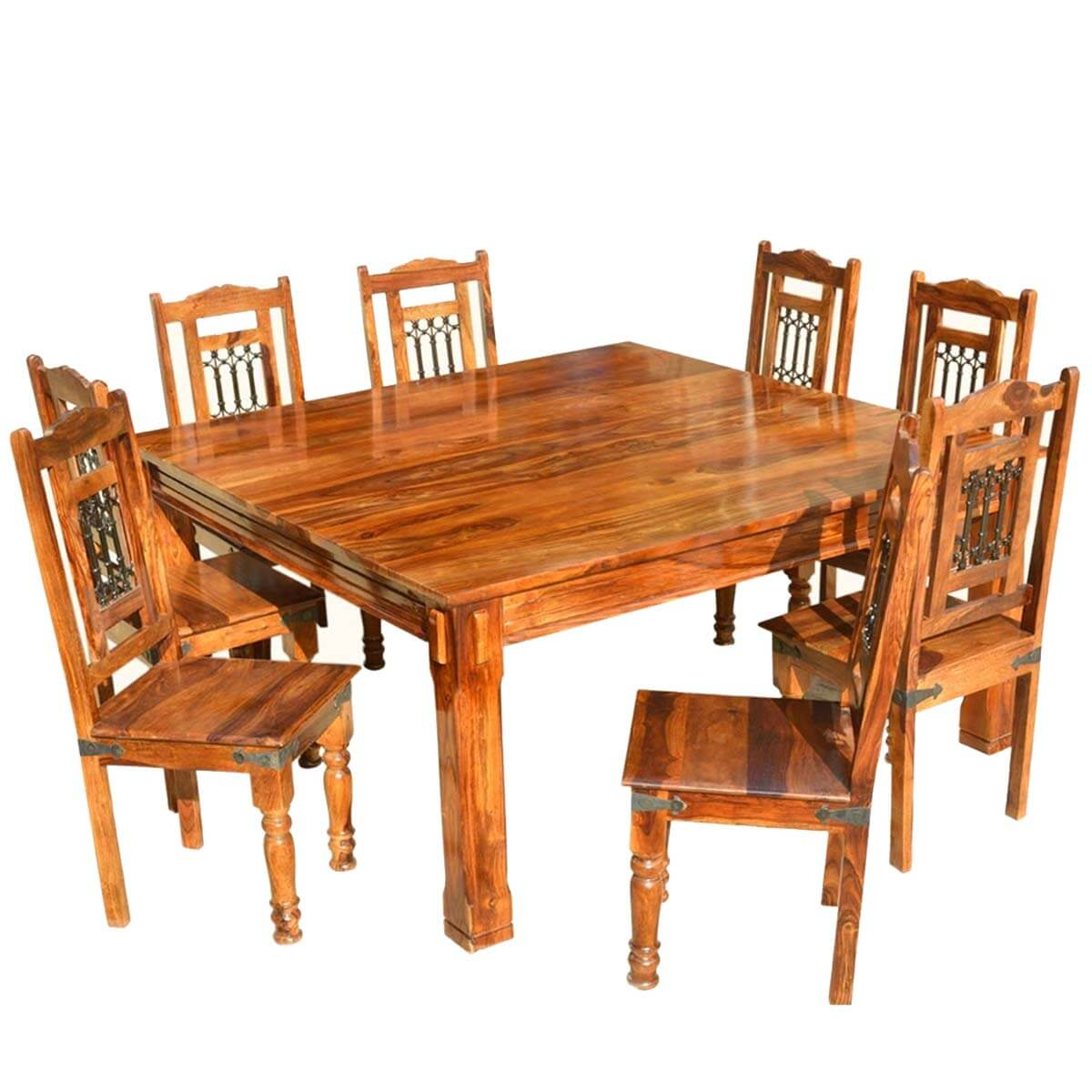 Transitional solid wood rustic square dining table chairs set for Wood dining table set