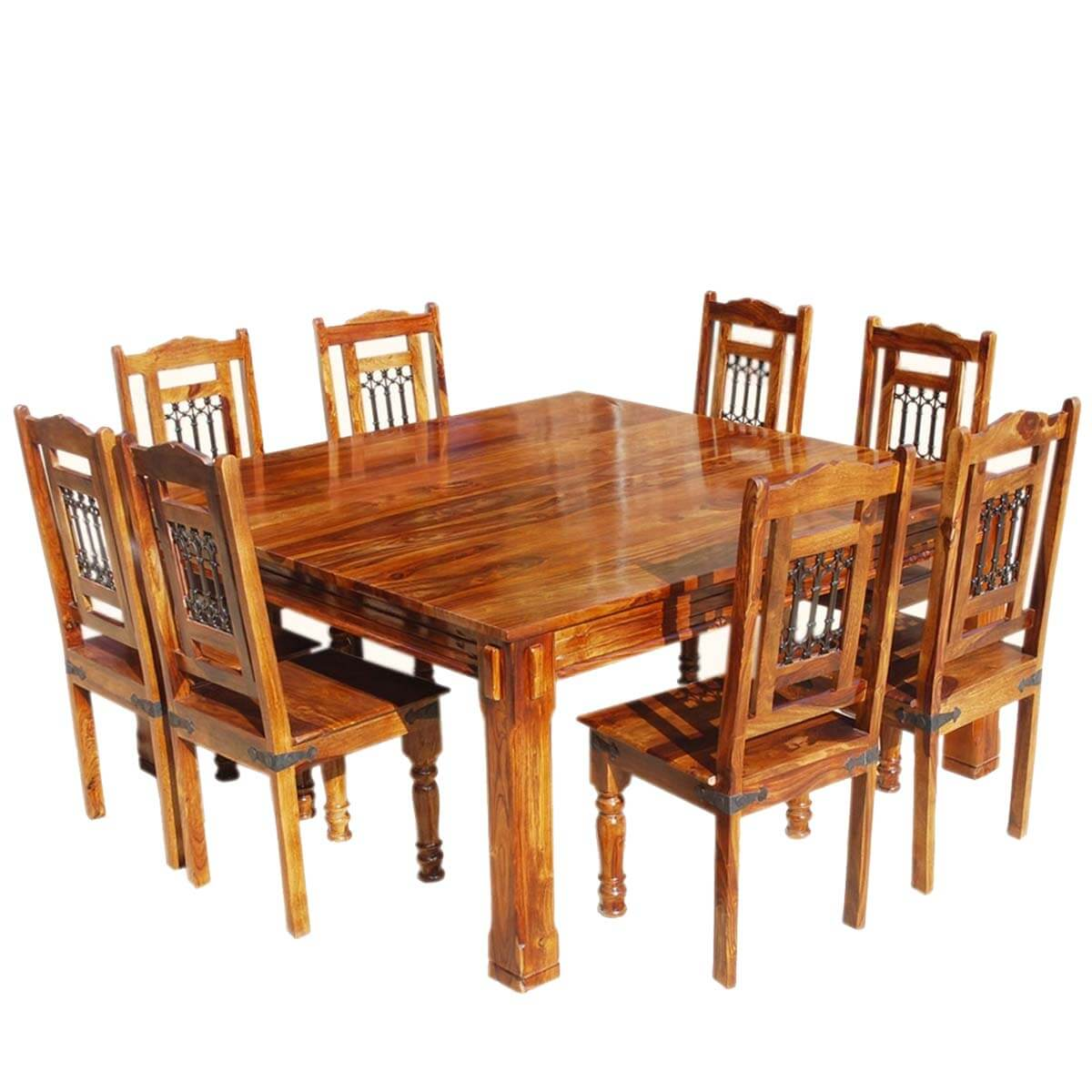 Transitional solid wood rustic square dining table chairs set for Wooden dining table set