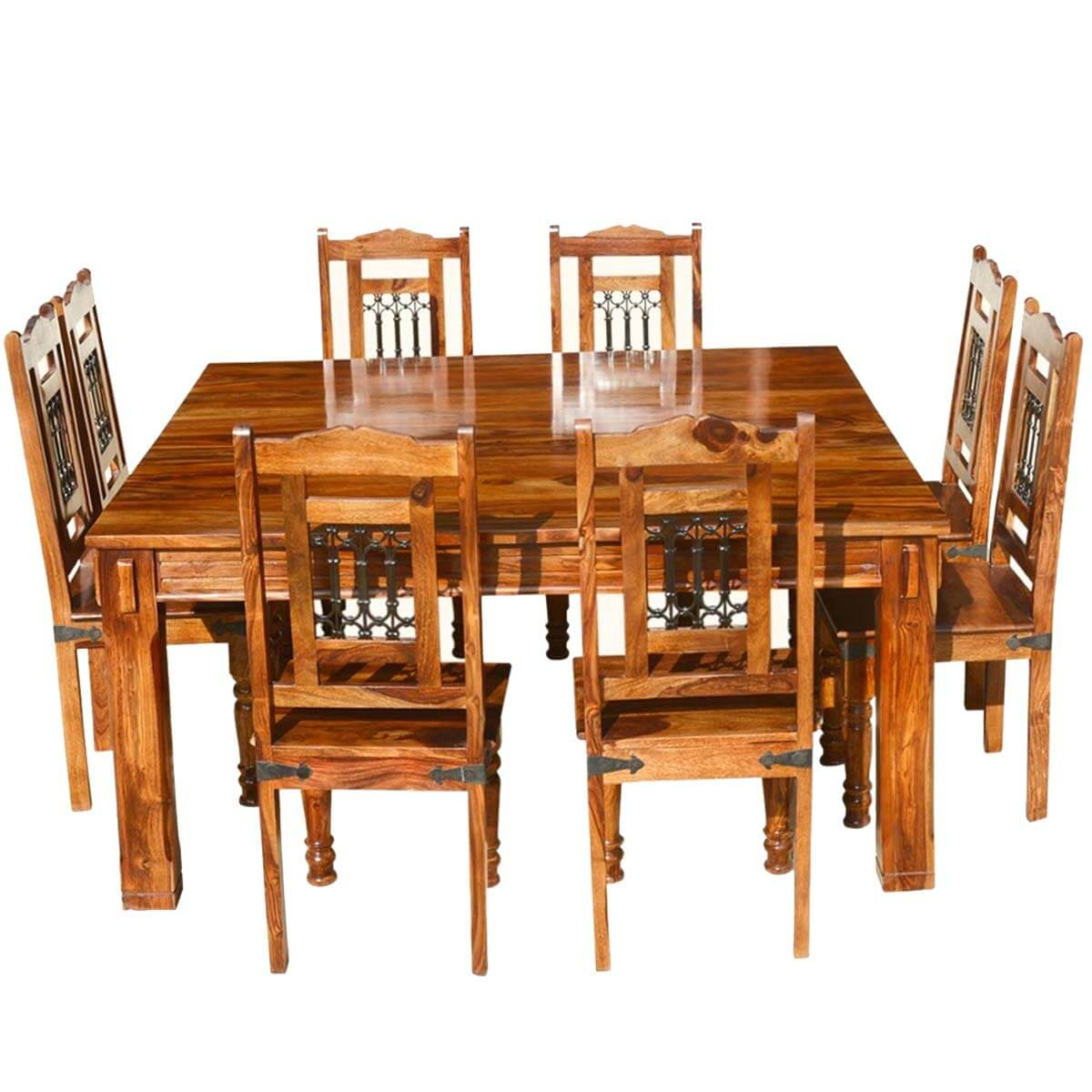 p transitional solid wood rustic square dining table chairs set