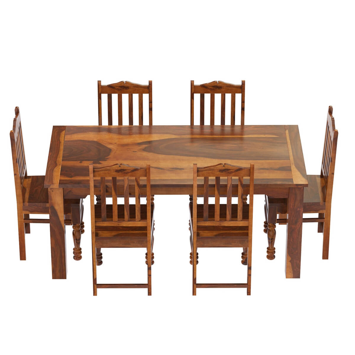 Rustic solid wood dallas dining table with chairs set