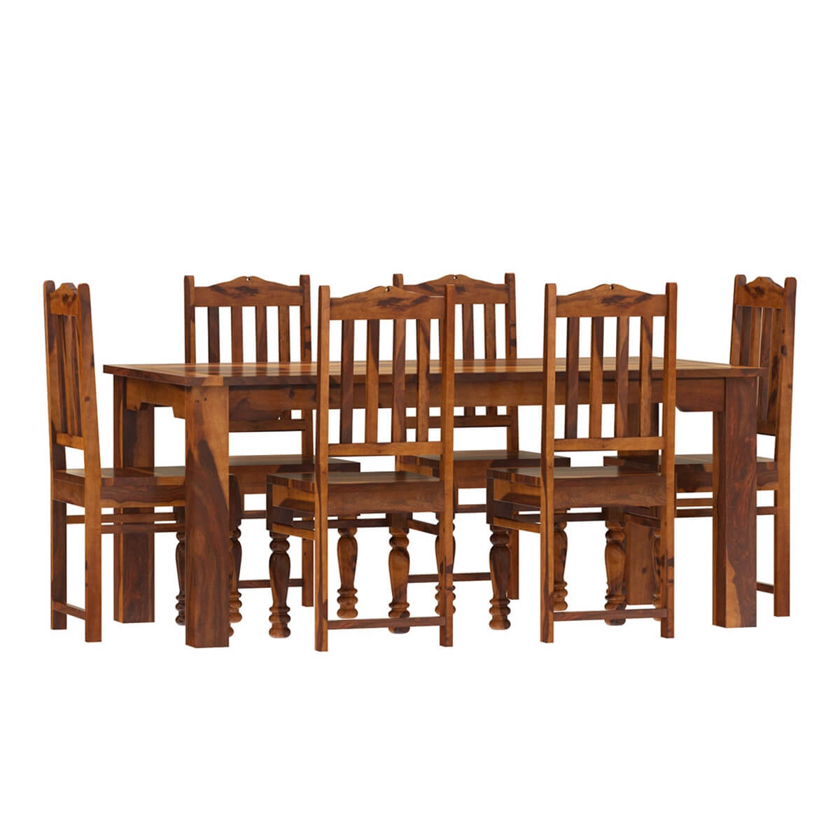 Rustic solid wood dallas dining table with chairs set for Solid wood dining table sets
