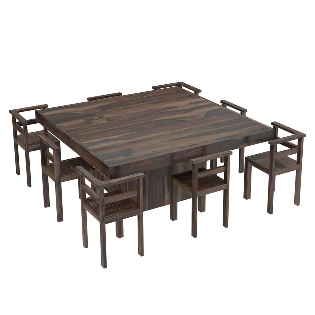 "Square Dining Table With Bench: Modern Rustic Solid Wood 64"" Square Pedestal Dining Table"