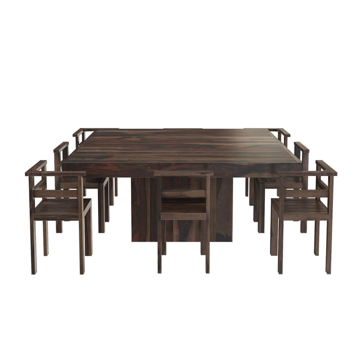 Modern rustic solid wood 64 square pedestal dining table for Pedestal dining table and chairs
